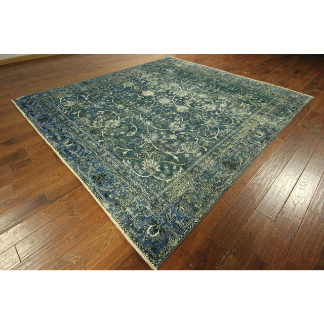 """Oriental Overdyed Tabriz Floral Rug - 9'2"""" x 10'2 - Image 4 of 11"""