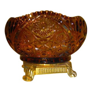 Vintage Amber Cut Glass Bowl With Brass Stand