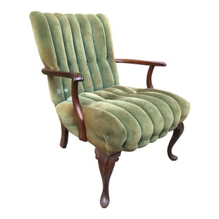 Vintage Green Velvet Bergere Chair