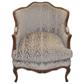 French Louis XV Style Walnut Bergere Chair 1920