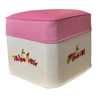 Pink Vinyl Fruit Motif Ottoman