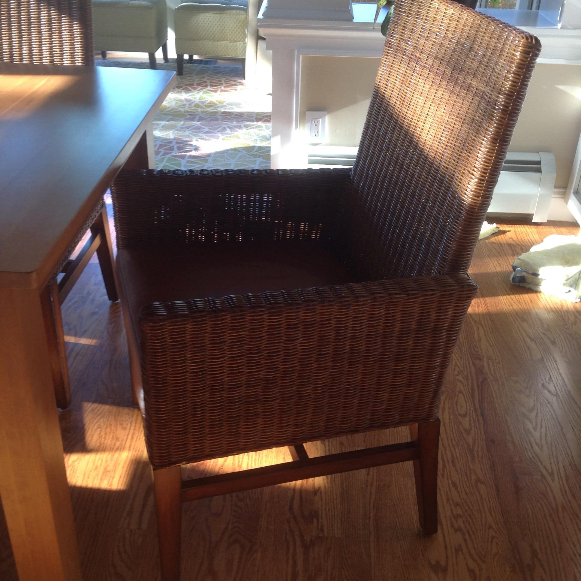Ethan Allen Parsons Table With 6 Woven Wicker Chairs  : 2b9d7778 0b5f 43c1 8ff5 158a08bac638aspectfitampwidth640ampheight640 from www.chairish.com size 640 x 640 jpeg 65kB
