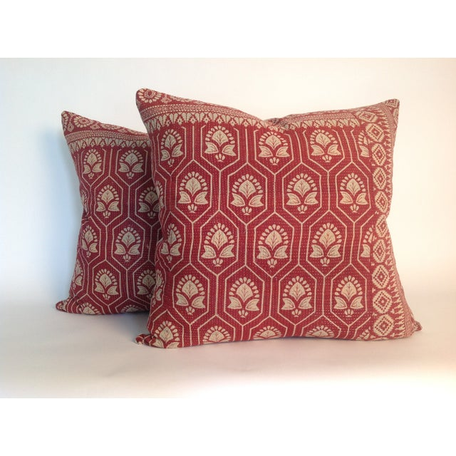 Vintage Indian Red Kantha Quilt Pillows - A Pair - Image 2 of 4
