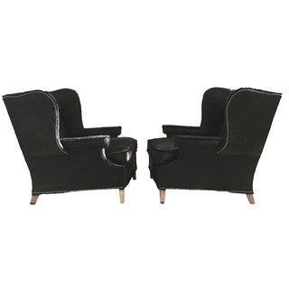 Vintage Cowhide Wingback Chairs - Pair