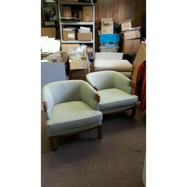 Image of 1970s Midcentury Barrel Club Chairs - A Pair