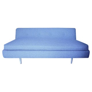 Blue Tweed Mid-Century Modern Settee