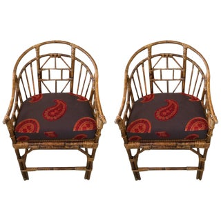 Vintage Rattan and Caned Armchairs - A Pair
