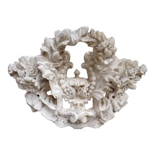 Vintage Carved Tufa Stone Floral Architectural Sculpture