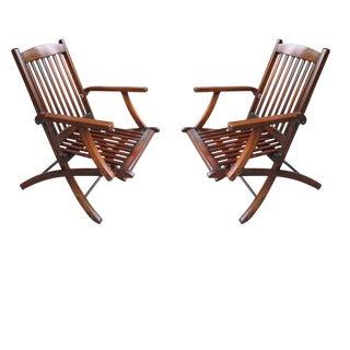 Pair Steamship Folding Chairs