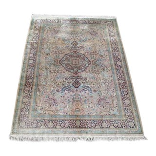 Semi Antique Floral Qum Rug - 6″ × 8″