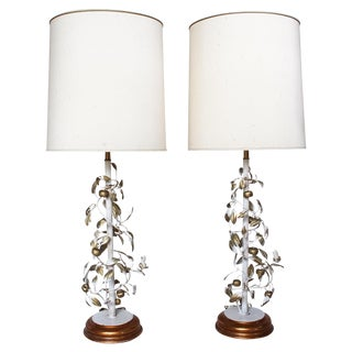 1940s Rembrandt Gilt Tole Topiary Lamps - A Pair