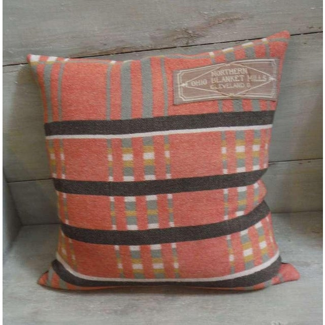 Pair of 19th Century Northern Ohio Blanket Mills Horse Blanket Pillows - Image 4 of 5