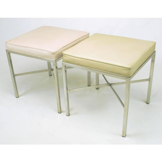 Pair of Polished Steel X-Stretcher Benches in Complementary Faux Leather - Image 5 of 10