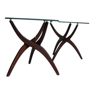 Vladimir Kagan Style Sculptural Mid-Century Modern Tables- A Pair