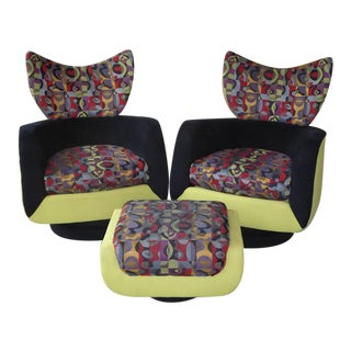 Pair of Vladimir Kagan Lounge Chairs for Directional with Ottoman