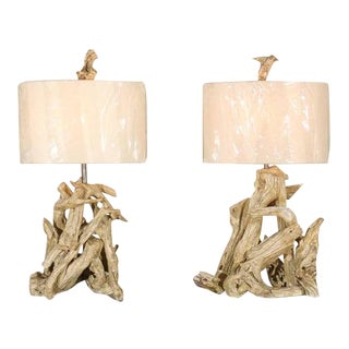 Restored Pair of Large-Scale Vintage Driftwood Lamps in Gesso