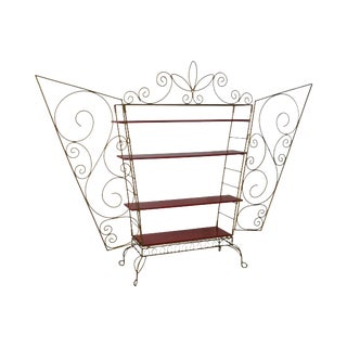 Scrolled Iron Winged Etagere