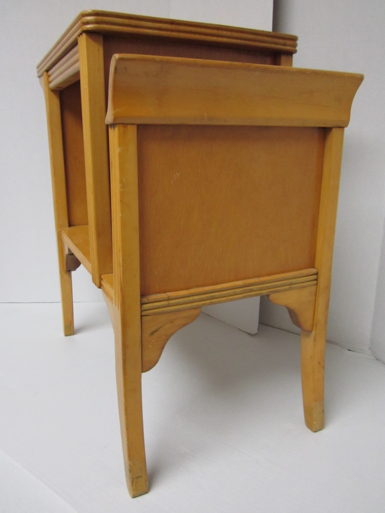 Vintage Mid Century Blonde Wood Telephone U0026 End Table   Image 3 Of 11