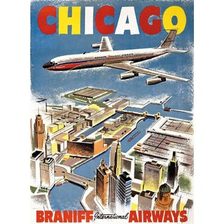 Chicago Travel Poster, Matted and Framed
