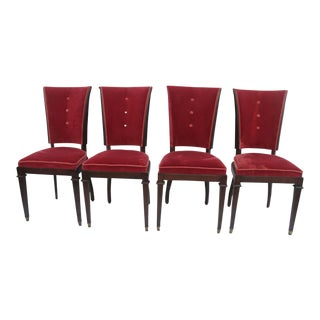 French Art Deco Walnut Dining Chairs - Set of 4