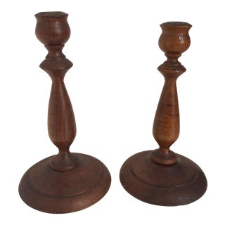Antique Wood Candlestick Holders - A Pair