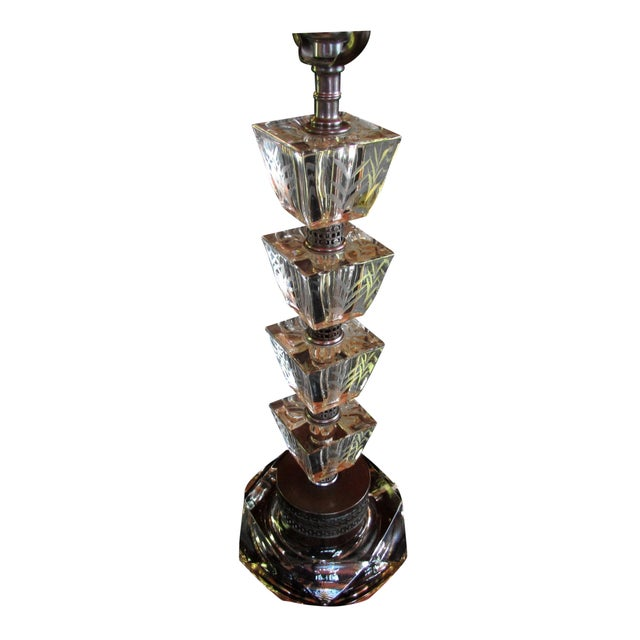 Image of Vintage 1930s Art Deco Glass Table Lamp