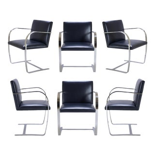 Brno Navy Leather Flat-Bar Chairs - Set of 6