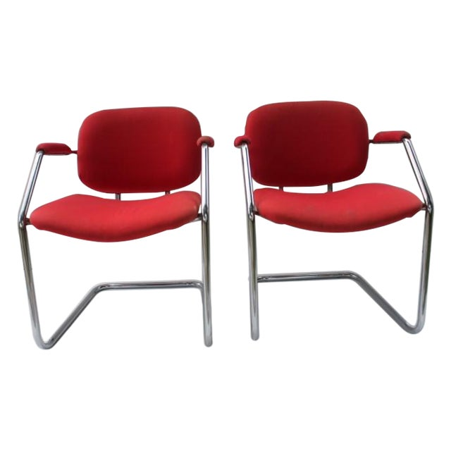 Mid-Century Chrome Accent Chairs - A Pair - Image 1 of 8