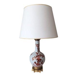 Hollywood Regency Chinoiserie White Porcelain Table Lamp