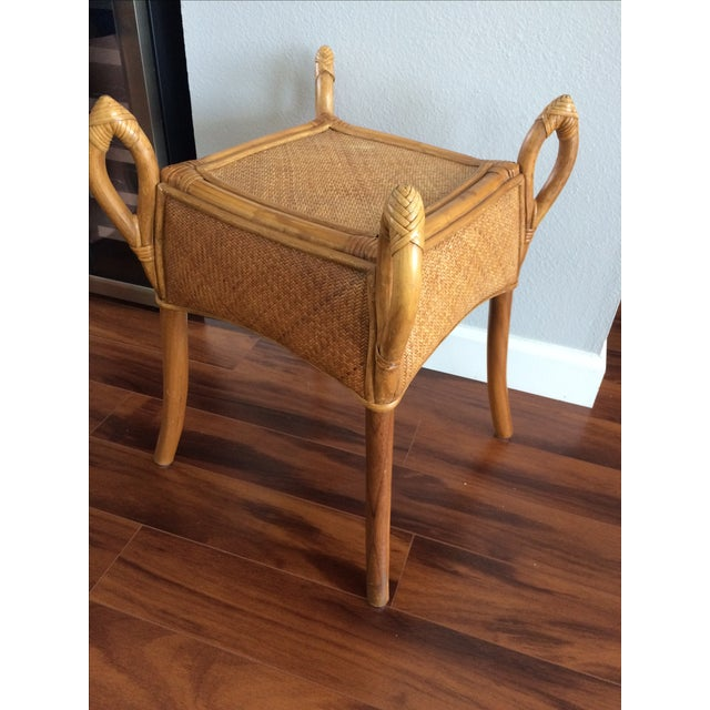 Vintage Bohemian Rattan Wicker Table - Image 3 of 8