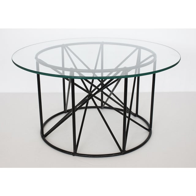 Black Steel Spokes Sculptural Glass Coffee Table - Image 3 of 9