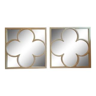 Quatrefoil Ivory Lacquer Mirrors - A Pair