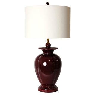 1970s Oxblood Ceramic Lamp & Shade