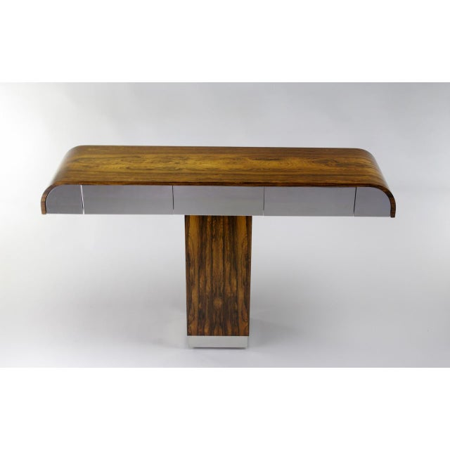 Rosewood & Chrome Pedestal Console - Image 2 of 11