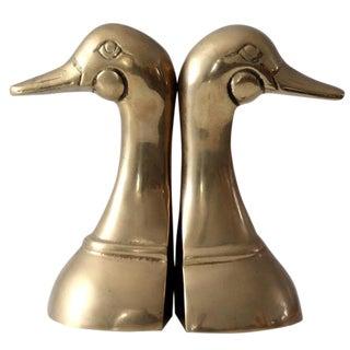 Mid-Century Brass Duck Book Ends