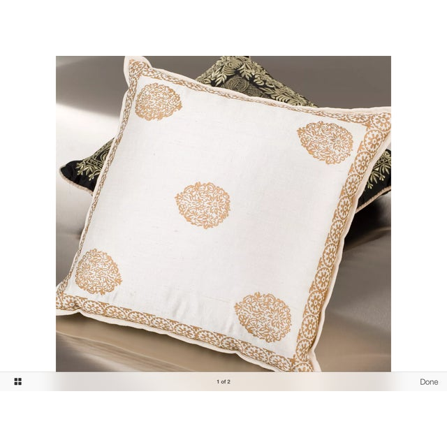 Ivory Silk Pillow Gold Hand Block Print - Pair - Image 3 of 5
