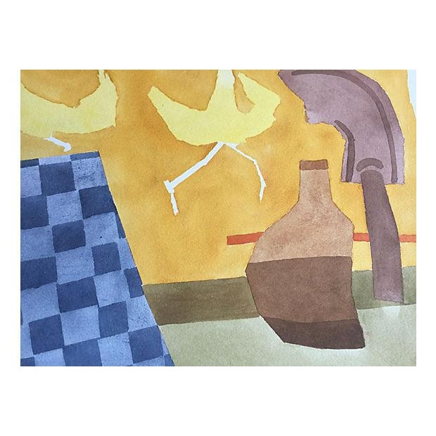 Modernist Still Life Watercolor Painting - Image 5 of 6