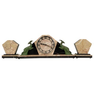 Marble Art Deco Clock with Side Garnitures