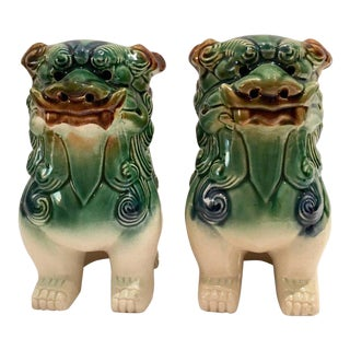 Chinese Polychrome Ceramic Glaze Foo Dogs - A Pair