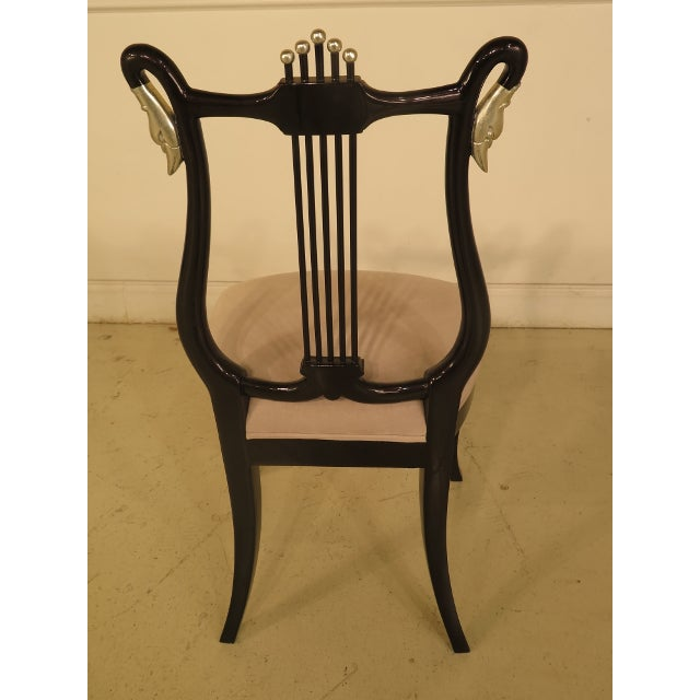 Black Lacquer Dining Room Chairs: Black Lacquer & Silver Dining Chairs - Set Of 8