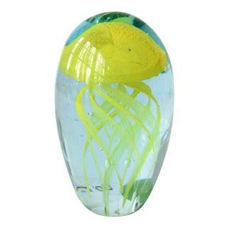 Glow in the Dark Art Glass Yellow Jellyfish Paperweight