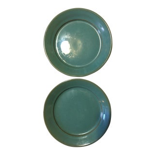 Blue Glazed Pottery Plates - A Pair