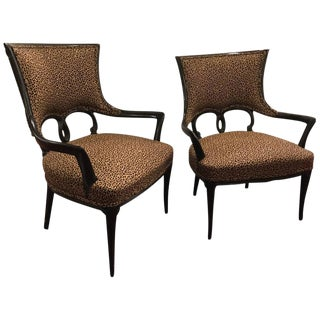 Leopard Skin Style Upholstery Ebonized Armchairs - a Pair