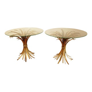 Vintage Italian Gilded Sheaf of Wheat Side Tables- A Pair