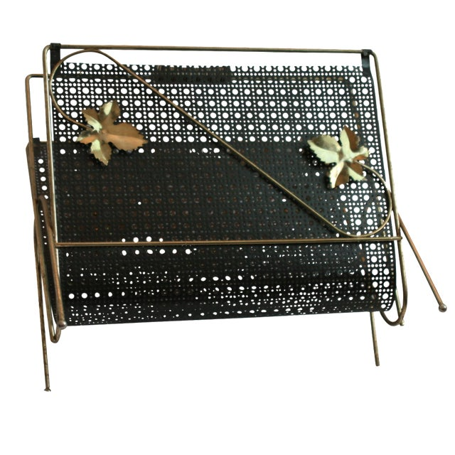 Image of Mid-Century Wire Magazine Rack with Leaf Design