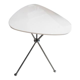 Mitchell Gold + Bob Williams Gibson White W/ Silver Legs Sugar Pull-Up Side Table
