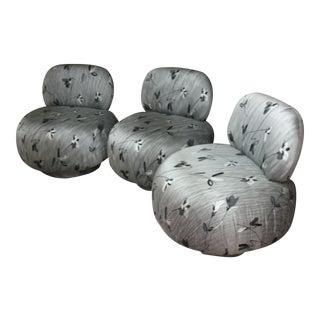 Attributed to A. Rudin Set of Three Poof Slipper Chairs