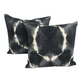 African Grey Tie Dye Mud Cloth Pillows - A Pair