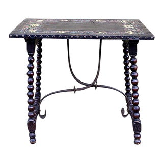 Spanish Revival Leather Top Table