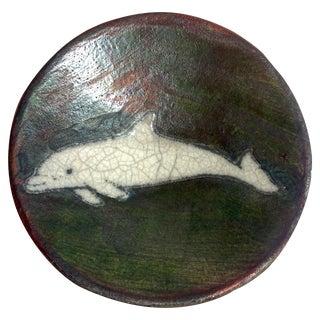 Signed Raku Studio Pottery Iridescent Bowl With Dolphin